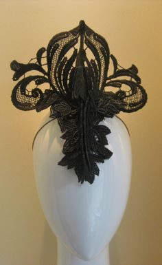 Lace mohawk crown. Black guipuire lace hand wired, stiffened and stitched in place. #jillandjack
