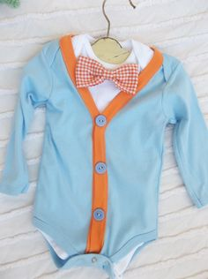 Cardigan Onesie Gingham Bowtie   Set Baby Boy Easter Outfit RESERVED. $30.00, via Etsy.