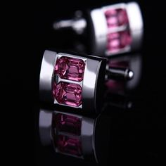 Pink Crystal Inlay Cufflinks