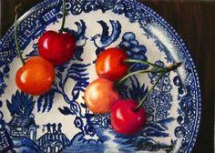 "Daily Paintworks - ""Blue Willow with Rainier Cherr."" by Susan Sjoberg Hiperrealismo Rainier Cherries, Still Life Fruit, Realistic Paintings, Hyperrealism, Realism Art, Painting Art, Art Work, Artists, Fine Art"
