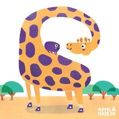 Die Giraffe mit den Zauberflecken, Giraffe, illustration, Apfelhase illustration, animals, Tiere, Kinderbuchillustration