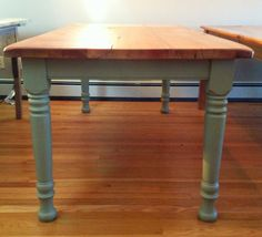 Painted Leg Antique Barn Wood Dining Table by AfterTheBarn on Etsy, $1400.00
