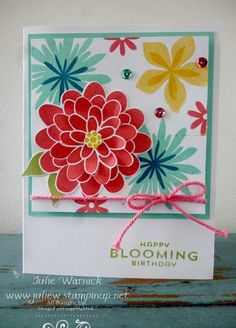 This card pops! Love the colors and flower layout. Flower Patch stamp set from Stampin' Up! Handmade Greetings, Greeting Cards Handmade, Making Greeting Cards, Flower Patch, Stamping Up Cards, Flower Cards, Flower Stamp, Happy Birthday Cards, Up Girl