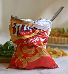 Recipe for beef and bean chili baked in a Frito corn chip tart shell. Beef Recipes, Snack Recipes, Snacks, Frito Pie, Tart Shells, Corn Chips, No Bean Chili, Beans, York