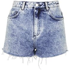 Debbie Acid Wash Denim Shorts by Topshop Archive ($35) ❤ liked on Polyvore featuring shorts, bottoms, pants, short, blue, blue short shorts, acid wash shorts, embroidered shorts, blue shorts and retro shorts