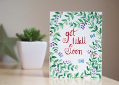 Get well soon card, hand written card. by AmoryPapel on Etsy