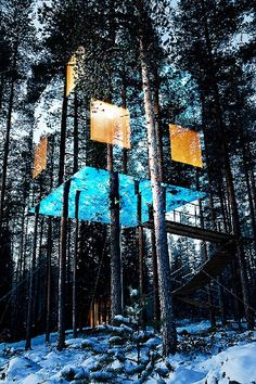I'm definitely doing this in my lifetime.  A stunning room of glass hanging nearly invisible among the trees.  (The Mirrorcube Tree House Hotel, Sweden)