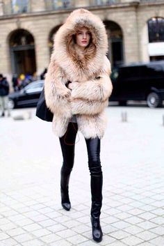 Fur with black pants. Great.