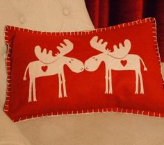 Rectangular Christmas Kissing Moose Cushion (Red) by Parlane from Home-Treats.co.uk