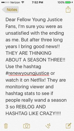 GUYS I CREATED THIS!! I SWEAR ITS TRUE!! #renewyoungjustice  Here's the link to the article: http://fandom.wikia.com/articles/netflix-might-revive-young-justice   PLEASE REBLOG LIKE CRAZY AND SPREAD THE WORD