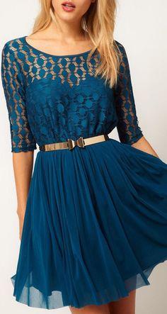 Teal Lace Chiffon Dress //