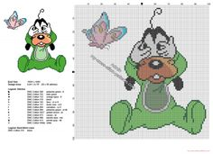 Disney baby Goofy hide and seek free cross stitch pattern
