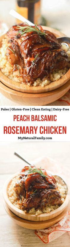 This peach balsamic rosemary chicken recipe is so easy to put together and is such an elegant combo of flavors. Fresh summer peaches and rosemary pair so well with a rich balsamic reduction that coats the chicken thighs and results in a tender, glossy, flavorful dish. {Paleo, Clean Eating, Gluten Free, Dairy Free}