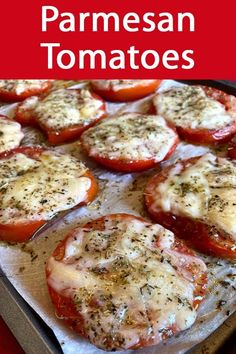 These roasted Parmesan tomatoes are amazing! So easy to make and mouthwatering! This is a perfect Keto side dish! These roasted Parmesan tomatoes are amazing! So easy to make and mouthwatering! This is a perfect Keto side dish! Dinner Side Dishes, Low Carb Side Dishes, Veggie Side Dishes, Healthy Side Dishes, Vegetable Sides, Side Dishes Easy, Side Dish Recipes, Food Dishes, Keto Recipes