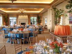 Beautiful wedding reception at the Resort at Pelican Hill Newport Beach, CA. The tables were filled with roses, orchids and protea . Linens provided by Fusion Linens and Coordination by Laurie Davies of Five Star Weddings and  Events.