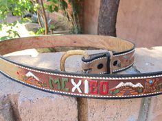 Vintage Embossed Brown Leather Belt MEXICO by retrosideshow