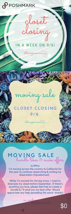 CLOSET CLOSING IN 1 WEEK (9/6)! Hello PFFs!   I just finalized plans to move across the country for the year for dissertation research! While this move is exciting, I need to clean out my posh closet and downsize before September! Please help spread the word! If there's anything you love, please feel free to create a bundle & I'll send you my best offer or feel free to submit your own reasonable offer! I would like to reopen my closet in California but am not sure if I'll have the…