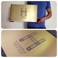 Custom interior design portfolio book with engraving treatment on brushed gold aluminum | Flickr - Photo Sharing!