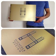 Custom interior design portfolio book with engraving treatment on brushed gold aluminum by KloPortfolios.com, via Flickr