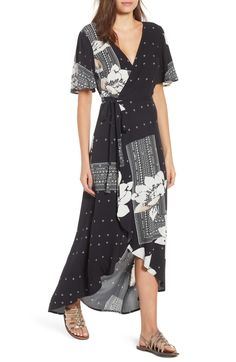 Free shipping and returns on O'Neill Alamante Print Wrap Dress at Nordstrom.com. Embrace the flattering fit of a wrap dress in this sweeping, maxi-length version styled with fluttering sleeves and an oversized floral print interspersed with geometric details.