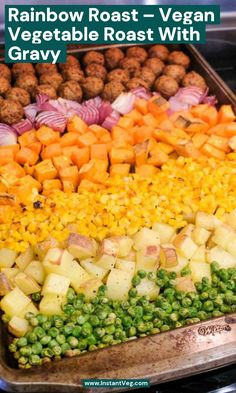 In this post I'll share my family's favorite vegan dinners - vegetable roast with gravy. This vegan roast is loaded with the best vegetables to roast - potatoes, carrots, sweet potatoes, and onions - a perfect all-in-one sheet pan dinner. What I love about this beautiful rainbow Vegetable Roast is t... #VeganDinners #VeganMeals #EasyVeganDinners #PlantBased #PlantBasedMeals #PlantBasedRecipes #PlantBasedDinners Shake Recipes, Veg Recipes, Vegan Recipes Easy, Recipes Dinner, Plant Based Recipes, Holiday Recipes, Cheap Vegan Meals, Vegetarian Dinners, Vegetarian Recipes