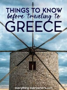Greece is one of the most popular tourist destinations in Europe. This is a list of things you should know before you travel to Greece.