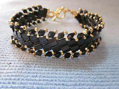 Tila Swarovski crystal Gold seed bead bracelet by Caspur74 on Etsy, $30.99