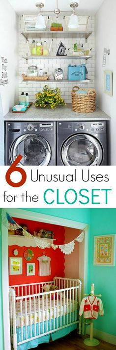 Desperate for space but you have no budget to remodel? Why not use a closet in a new and unusual way, like as a laundry room or nursery? Click through for more inspiration.   The Glamorous Housewife