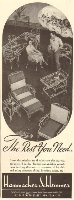 Wrought iron patio furniture 1940s ad from Hammacher Schlemmer; love vintage patio furniture.