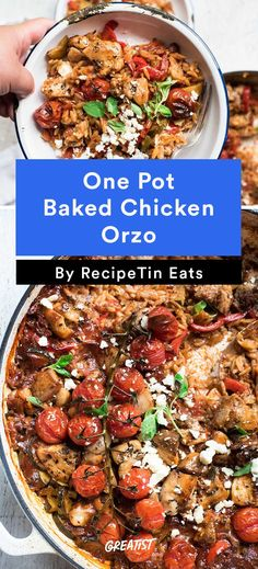 Baked Greek Chicken Orzo #healthy #chicken #recipes