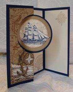 Stamps: The Open Sea; Coast to Coast; Word Play; Old World MapPaper: Night of Navy; Crumb Cake; VanillaInk: Crumb Cake; Soft Suede; Night of NavyAccessories: Circle Card Thinlit Die; Twine; Crochet Hook; Stampin' Dimensionals