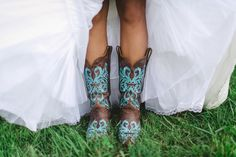 Bride in Turquoise Cowboy Boots