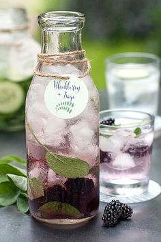 Stylish Sips! Flavored Water - Blackberry + Sage + Cute tag