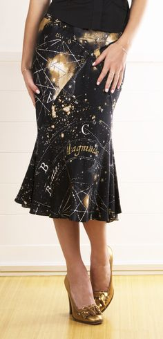 Roberto Cavalli Constellation Silk Printed Skirt. from @Pascale Lemay De Groof