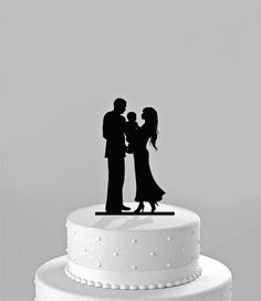 Wedding Cake Topper Silhouette Bride &Groom holding baby -  Family Acrylic Cake Topper [CT64c]