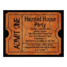 20 best halloween party invitation templates images on pinterest vintage ticket haunted house halloween invitation stopboris Gallery