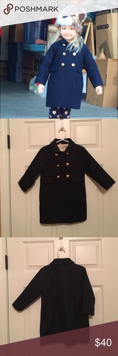 CrewCuts by J. Crew classic navy coat Timeless girls double breasted navy blue coat with gold tone buttons. Good condition. 80% wool 20% polyester. Dry clean only. J. Crew Jackets & Coats