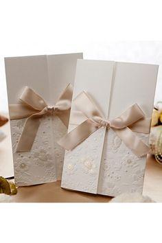Vintage Embossed Tri-fold Wedding Invitation With Ribbon Bow (50/Set) | LynnBridal.com