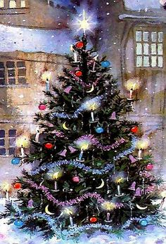 Weihnachtsbilder Golden Christmas Tree: Laced with golden ribbon, clear lights, and gold wire flower- and dove-sha Christmas Tree Gif, Beautiful Christmas Trees, Christmas Scenes, Christmas Past, Winter Christmas, Christmas Lights, Vintage Christmas, Christmas Cards, Christmas Decorations