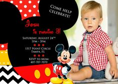 Mickey Mouse Invitation with Picture by OnlinePartyDesign on Etsy