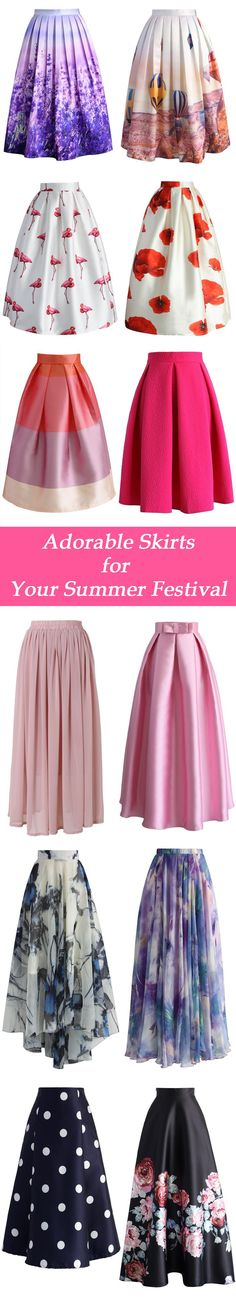 Adorable skirts for your summer festivals   chicwish.com  I would love some of these