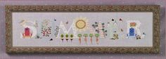 Summer - Cross Stitch Pattern; this akong with the other seasons in a plain black frame above the mirror I'm going to paint black & decorate to match the funky cat. Switch out each season.