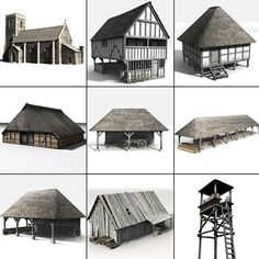 Medieval village buildings - Church, watch tower, barn, stables, workshop/area...