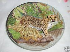 """""""THE JAGUAR"""" FIERCE AND FREE : THE BIG CATS PLATE Big Cats Art, Cat Art, Jaguar, Green Beans, Plates, Vegetables, Free, Licence Plates"""