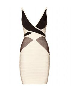 The striking black and gray on this cream-colored dress highlights curves...feels very Old Hollywood.