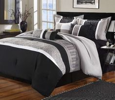Luxury Home Euphoria Black & Grey Embroidered 8-Piece Comforter Set - Out of Stock - Check out our other luxury bedding sets at Bedding.com!