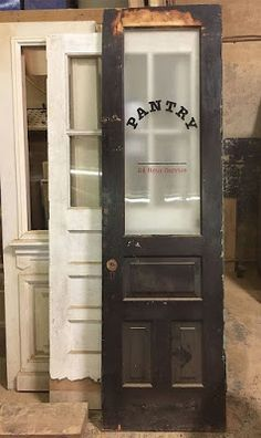 Antique door, salvaged door, old door, pantry door Diy Barn Door, Diy Door, Kitchen Pantry Doors, Rustic Pantry Door, Kitchen Cabinets, Vintage Pantry, Pantry Design, Kitchenette Design, Door Makeover