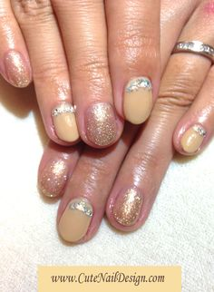 ♥Cute Nail Design♥ » Pictures of Pretty Nail Designs » Gold x Beige Nails by Emi Japanese Nail Design, Japanese Nails, Cute Nails, Pretty Nails, Beige Nails, Nail Designs Pictures, Pretty Nail Designs, Gold, Beige Nail