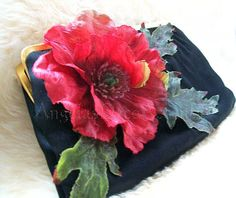 Vintage Satin Clutch Upcycled Black Purse 1960 Saks 5th Ave MOD Retro Chic Style Red Silk Poppy Chained Mini Wallet Good Condition Bag