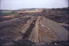 Construction of M62 at Scammonden embankment, 1969